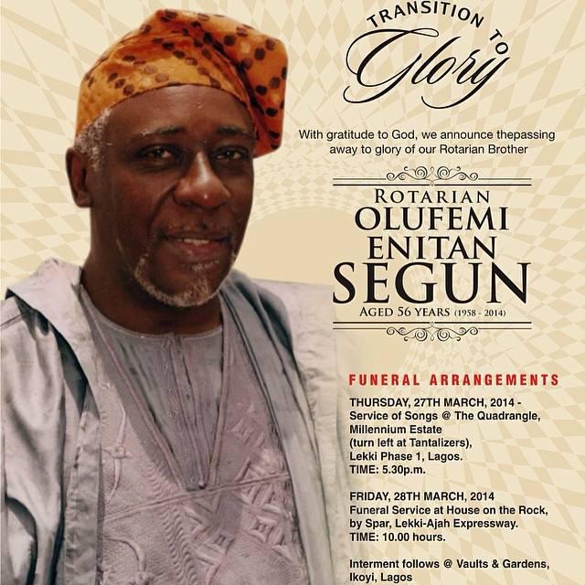 Femi Segun burial Programme out Naija Hottest Gist